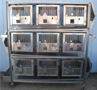 Stainless Steel Self Cleaning Rabbit Cage's Bank of 9!!!